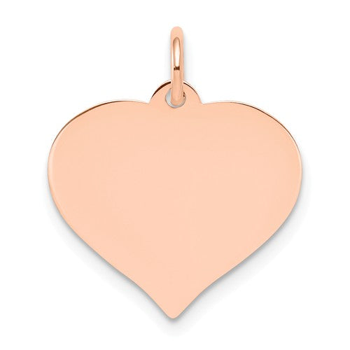 14k Rose Gold 16mm Heart Disc Pendant Charm Personalized Monogram Engraved