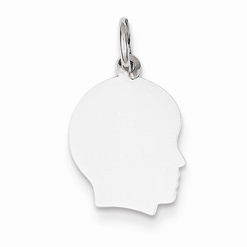 14k White Gold 11mm Boy Head Facing Right Disc Pendant Charm Engraved Personalized - BringJoyCollection