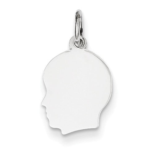 14k White Gold 11mm Boy Head Silhouette Disc Pendant Charm Engraved Personalized - BringJoyCollection