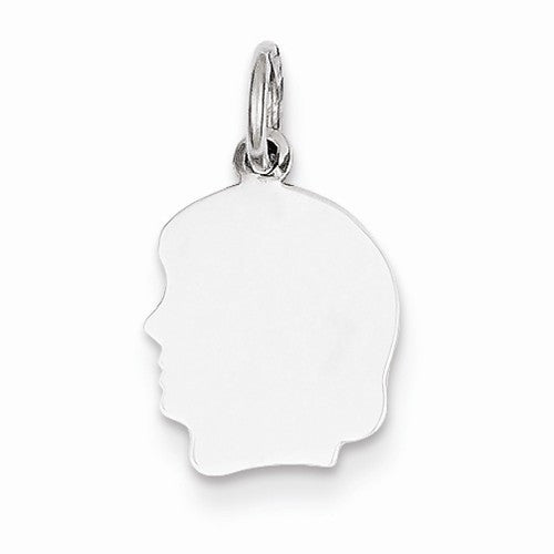 14k White Gold 10mm Girl Head Silhouette Disc Pendant Charm Engraved Personalized - BringJoyCollection