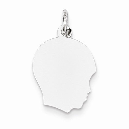 14k White Gold 13mm Boy Head Facing Right Disc Pendant Charm Engraved Personalized - BringJoyCollection