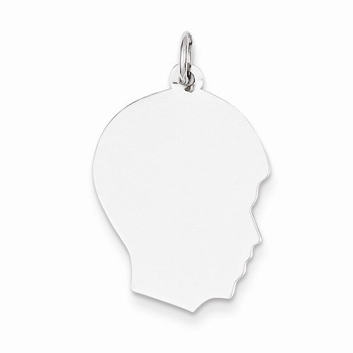 14k White Gold 17mm Boy Head Facing Right Disc Pendant Charm Engraved Personalized - BringJoyCollection