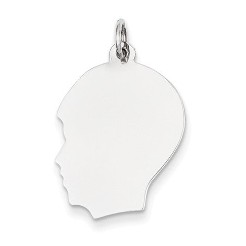 14k White Gold 17mm Boy Head Silhouette Disc Pendant Charm Engraved Personalized - BringJoyCollection