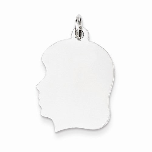 14k White Gold 17mm Girl Head Silhouette Disc Pendant Charm Engraved Personalized - BringJoyCollection
