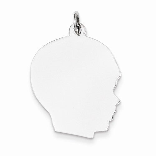 14k White Gold 20mm Boy Head Facing Right Disc Pendant Charm Engraved Personalized - BringJoyCollection