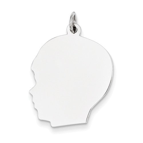 14k White Gold 20mm Boy Head Silhouette Disc Pendant Charm Engraved Personalized - BringJoyCollection