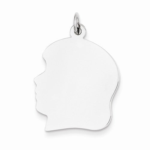 14k White Gold 20mm Girl Head Silhouette Disc Pendant Charm Engraved Personalized - BringJoyCollection