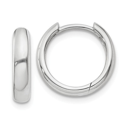 14k White Gold Classic Huggie Hinged Hoop Earrings 12mm x 12mm x 2mm