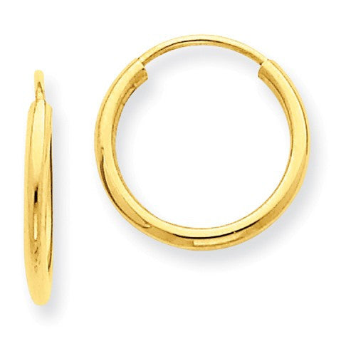 14k Yellow Gold Small Classic Endless Round Hoop Earrings 12mm x 1.5mm - BringJoyCollection