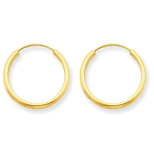 14k Yellow Gold Small Classic Endless Round Hoop Earrings 15mm x 1.5mm - BringJoyCollection