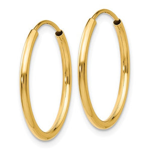 14k Yellow Gold Classic Endless Round Hoop Earrings 17mm x 1.5mm