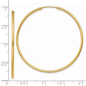 14k Yellow Gold Large Endless Round Hoop Earrings 45mm x 1.5mm