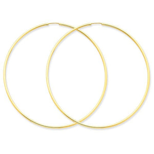14k Yellow Gold Extra Large Endless Round Hoop Earrings 60mm x 1.5mm - BringJoyCollection