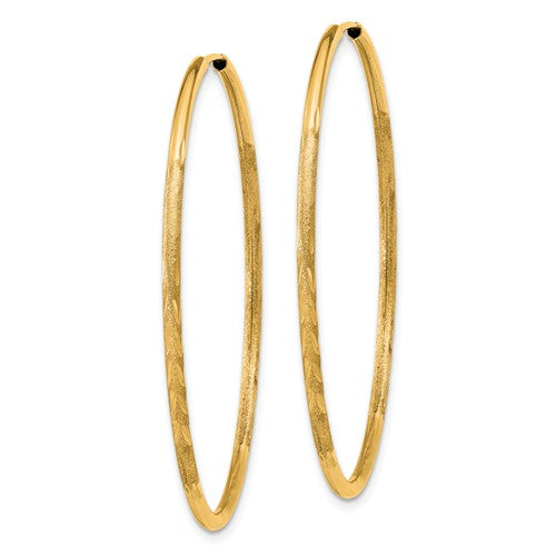 14k Yellow Gold Satin Diamond Cut Endless Round Hoop Earrings 43mm x 1.5mm - BringJoyCollection