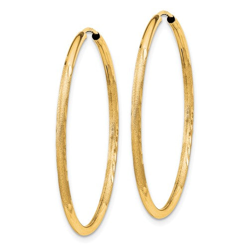 14k Yellow Gold Satin Diamond Cut Endless Round Hoop Earrings 33mm x 1.5mm - BringJoyCollection