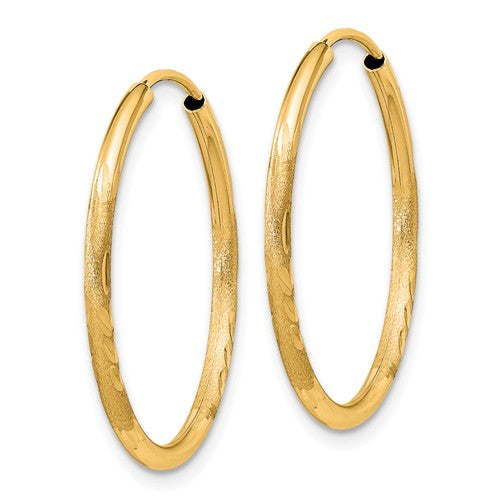 14k Yellow Gold Satin Diamond Cut Endless Round Hoop Earrings 24mm x 1.5mm - BringJoyCollection