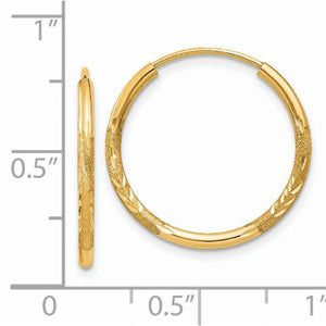 14k Yellow Gold Satin Diamond Cut Endless Round Hoop Earrings 19mm x 1.5mm - BringJoyCollection