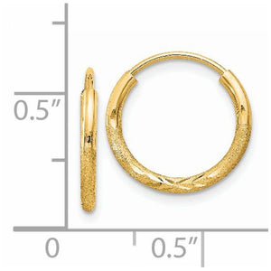 14k Yellow Gold Satin Diamond Cut Endless Round Hoop Earrings 14mm x 1.5mm