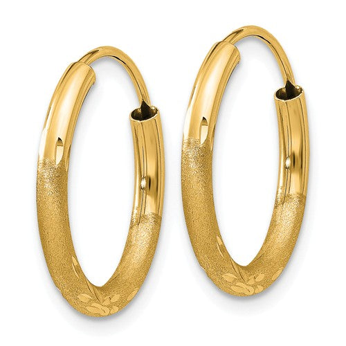 14k Yellow Gold Satin Diamond Cut Endless Round Hoop Earrings 17mm x 2mm - BringJoyCollection