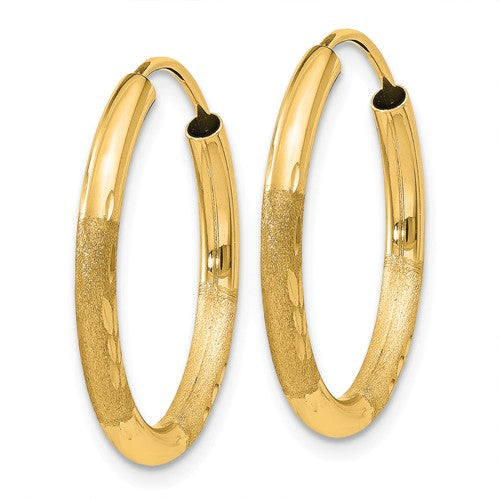 14k Yellow Gold Satin Diamond Cut Endless Round Hoop Earrings 20mm x 2mm - BringJoyCollection