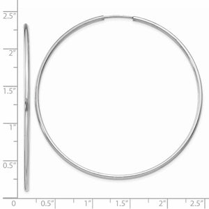 14k White Gold Classic Endless Round Hoop Earrings 55mm x 1.5mm