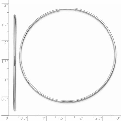 14k White Gold Classic Endless Round Hoop Earrings 63mm x 1.5mm