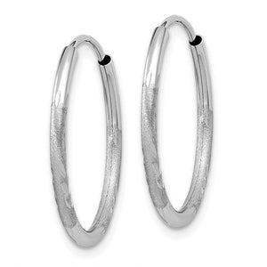 14k White Gold Satin Diamond Cut Endless Round Hoop Earrings 19mm x 1.5mm