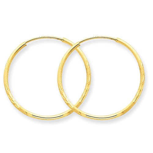 14k Yellow Gold Diamond Cut Satin Endless Round Hoop Earrings 23mm x 1.25mm - BringJoyCollection