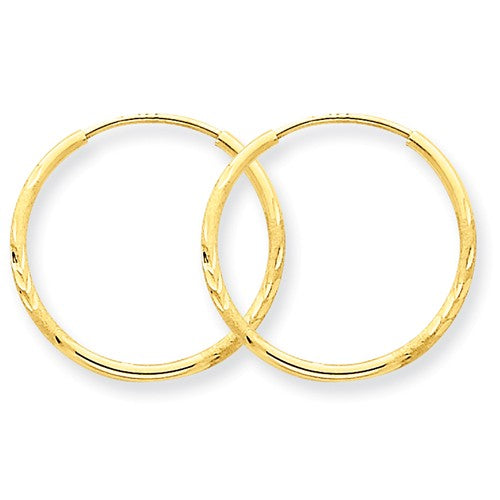 14k Yellow Gold Diamond Cut Satin Endless Round Hoop Earrings 19mm x 1.25mm - BringJoyCollection