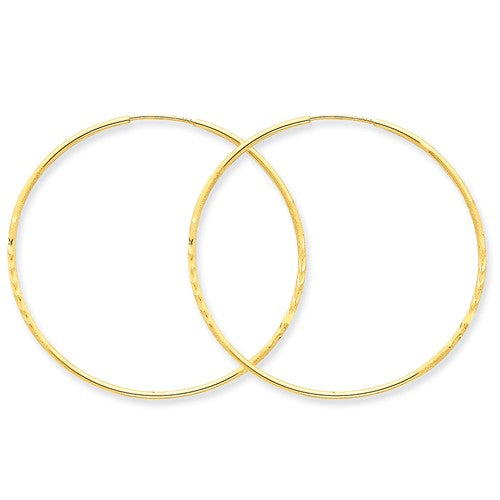 14k Yellow Gold Diamond Cut Satin Endless Round Hoop Earrings 43mm x 1.25mm - BringJoyCollection