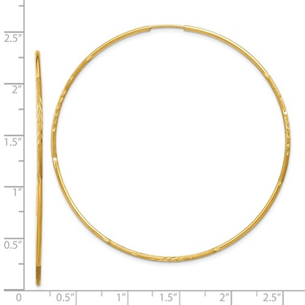 14k Yellow Gold Diamond Cut Large Endless Round Hoop Earrings 60mm x 1.25mm