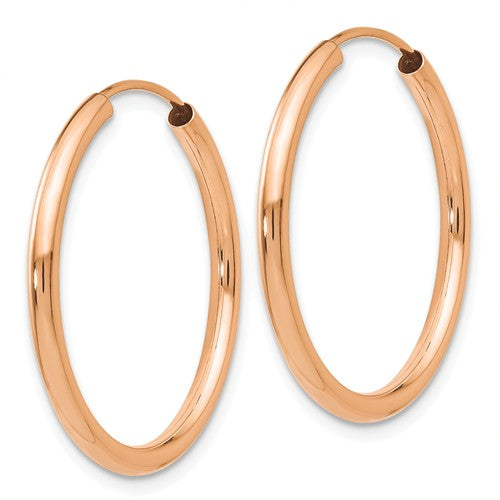 14k Rose Gold Classic Endless Round Hoop Earrings 23mm x 2mm