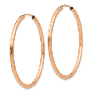 14k Rose Gold Classic Endless Round Hoop Earrings 37mm x 2mm