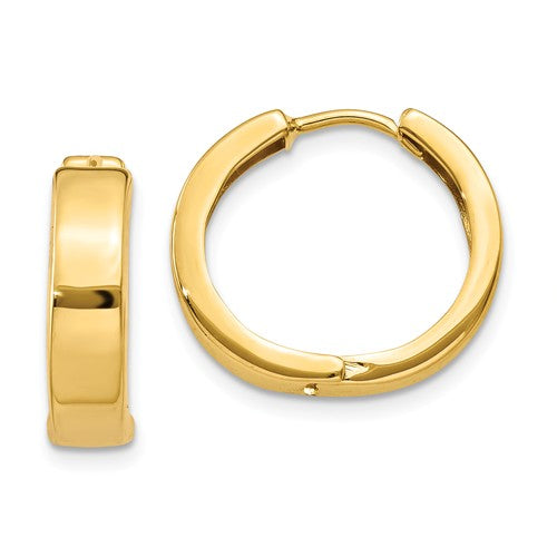 14k Yellow Gold Classic Huggie Hinged Hoop Earrings 16mm x 16mm x 4mm