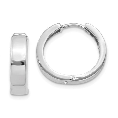 14k White Gold Classic Huggie Hinged Hoop Earrings 16mm x 16mm x 4mm
