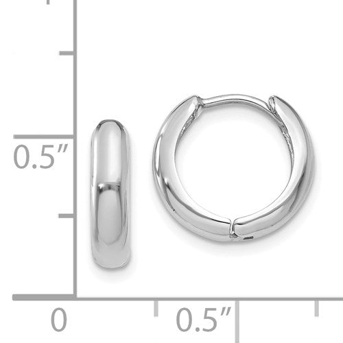 14k White Gold Small Dainty Huggie Hinged Hoop Earrings 12mm x 2mm