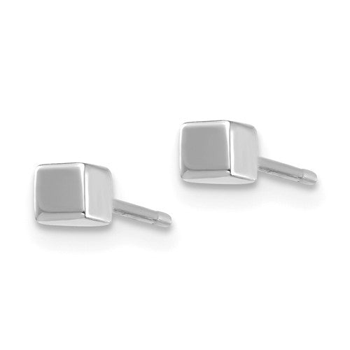 14k White Gold Petite Tiny Square Geometric Geo Stud Earrings