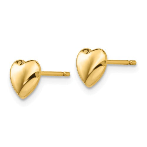 14k Yellow Gold Small Heart Button Stud Post Push Back Earrings