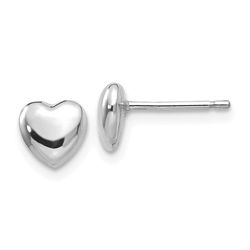 14k White Gold Small Heart Button Stud Post Push Back Earrings