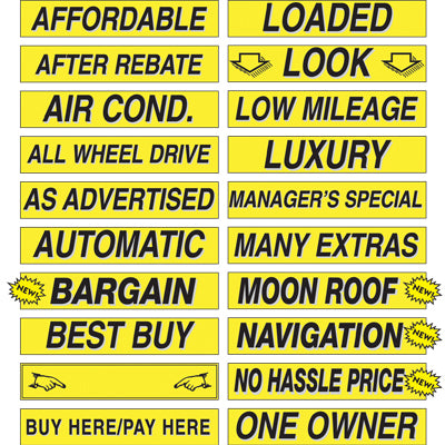Adhesive Windshield Slogan - Yellow and Black