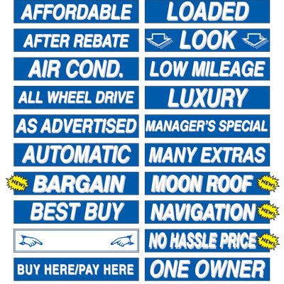 Adhesive Windshield Slogan - Blue and White