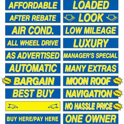 Adhesive Windshield Slogan - Blue and Yellow
