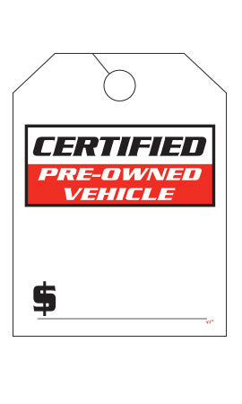 "Mirror Hang Tags (Jumbo) - ""Certified Pre Owned Vehicle"""