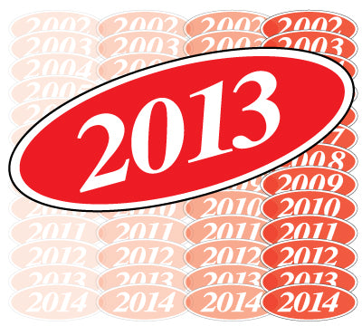 Oval Year Model Stickers - Red/White