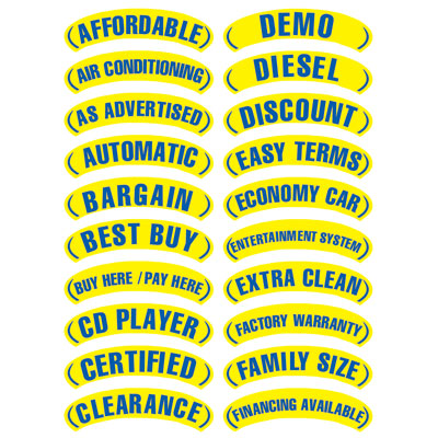 Oval Arch Slogans - Blue and Yellow