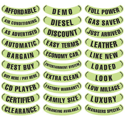 Oval Reverse Arch Slogans - Chartreuse and Black
