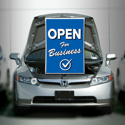 Under Hood Sign - Open For Business