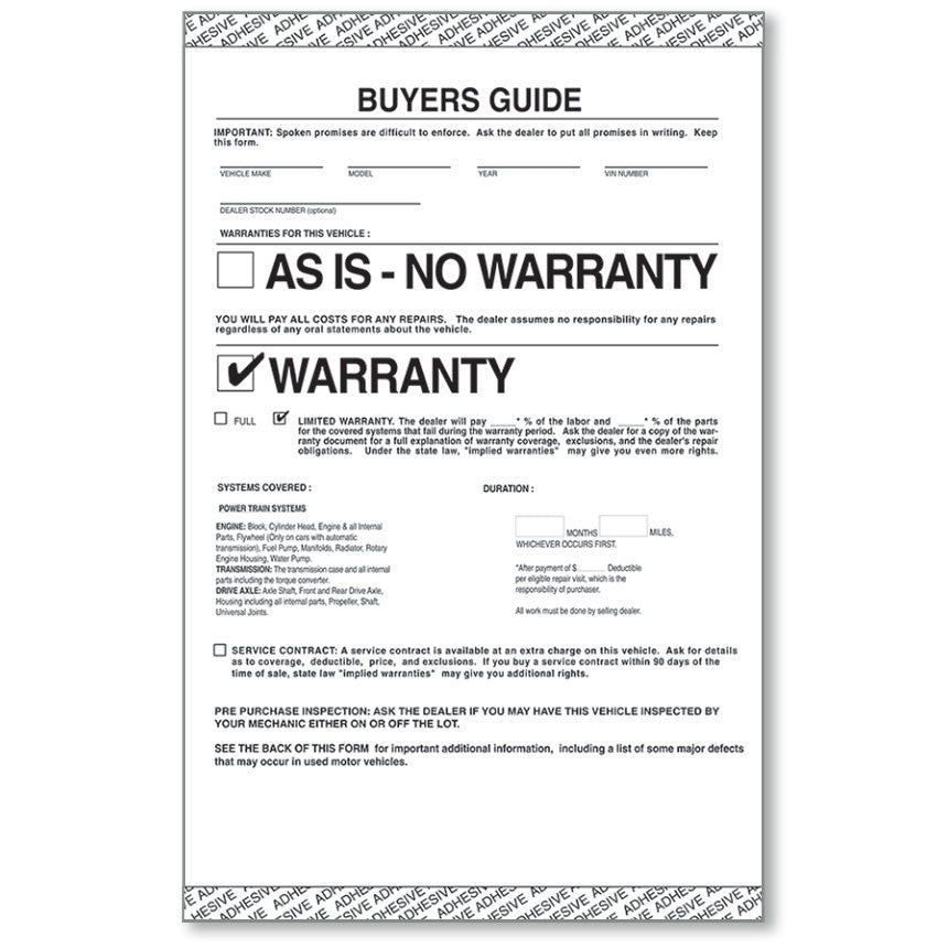 AS IS - Manufacturer's Warranty