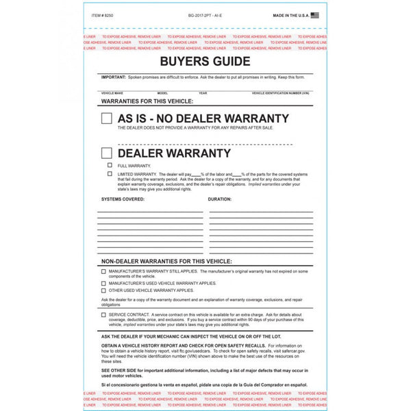 AS IS - No Warranty FTC Compliant Buyers Guide
