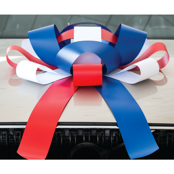 JUM-BOW Magnetic Car Bow - Red, White and Blue